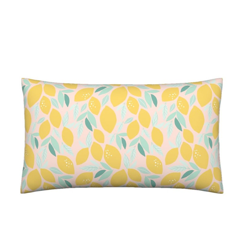 319238eb037 Lumbar Throw Pillow Lemons C by indybloomdesign Pastel