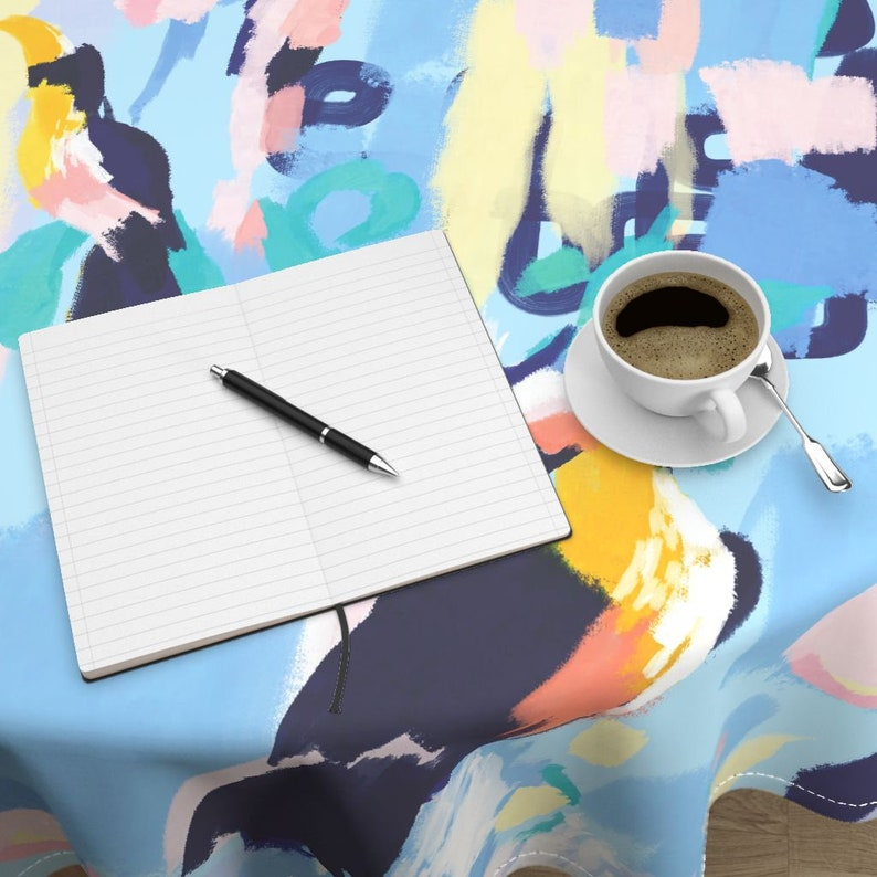 Tropical Toucan Round Tablecloth Abstract Cotton Sateen Circle Tablecloth by Spoonflower Boho Paradise Jumbo by michelleaitchison