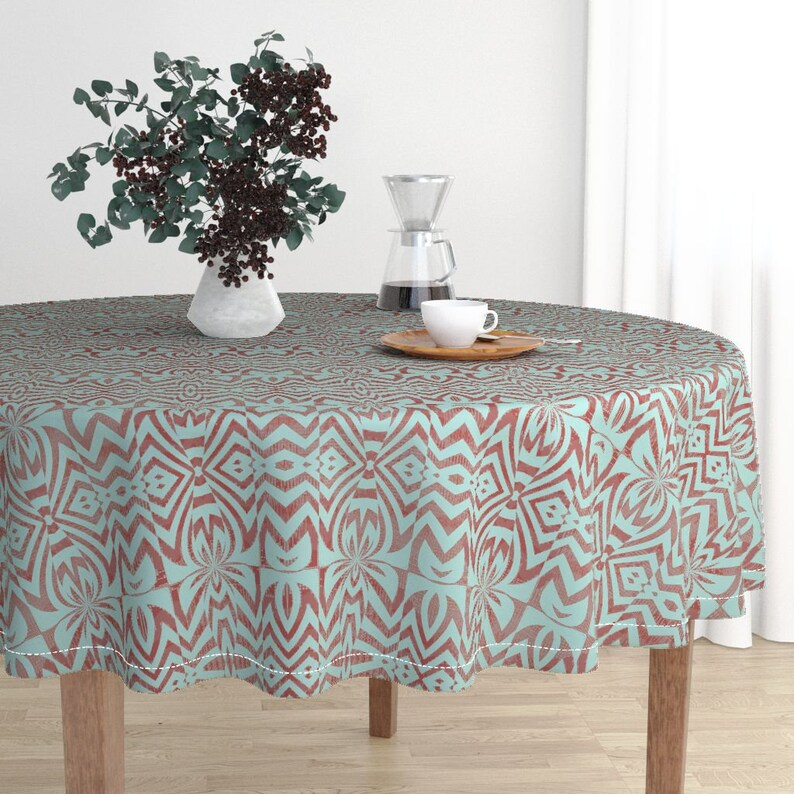 Abstract Round Tablecloth by david/_kent/_collections 5 Tika Turn Tropic Tiki Cotton Sateen Circle Tablecloth by Spoonflower