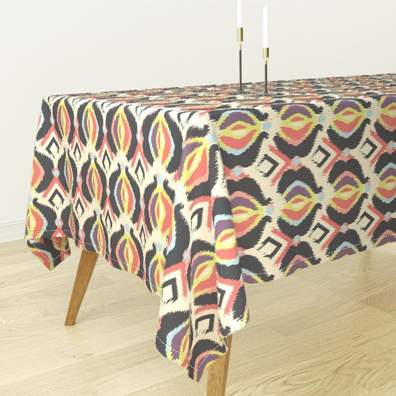 Ogee Tablecloth Ikat Black Cream Coral Blue Purple Diamonds Cotton Sateen Tablecloth by Spoonflower Bohemian Ikat by bohemiangypsyjane