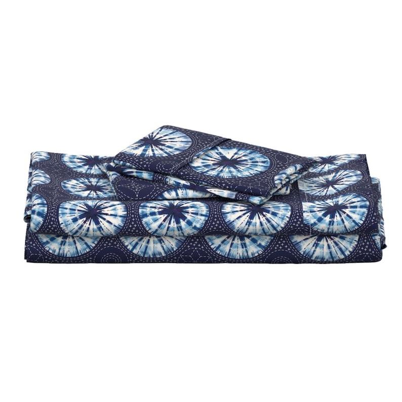 Indigo Shibori  Japanese Inspired Cotton Sateen Sheet Set Bedding by Spoonflower Sashiko Print Sheets Shibori Sashiko by cerigwen