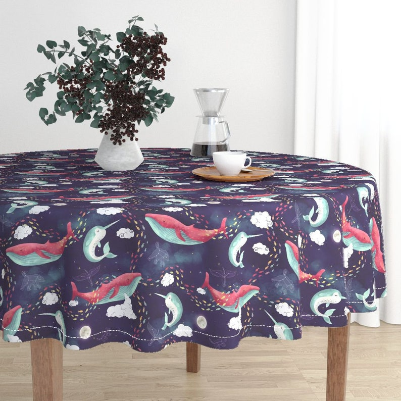 Constellations Round Tablecloth Dream Whale  by littleknids Nautical Ocean Space Stars Cotton Sateen Circle Tablecloth by Spoonflower