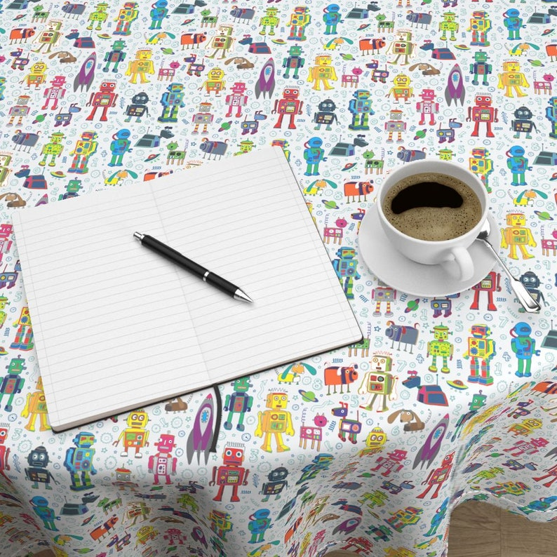 Robots In Space On Grey Medium Small by cecca Robo Space Cotton Sateen Circle Tablecloth by Spoonflower Robots Round Tablecloth