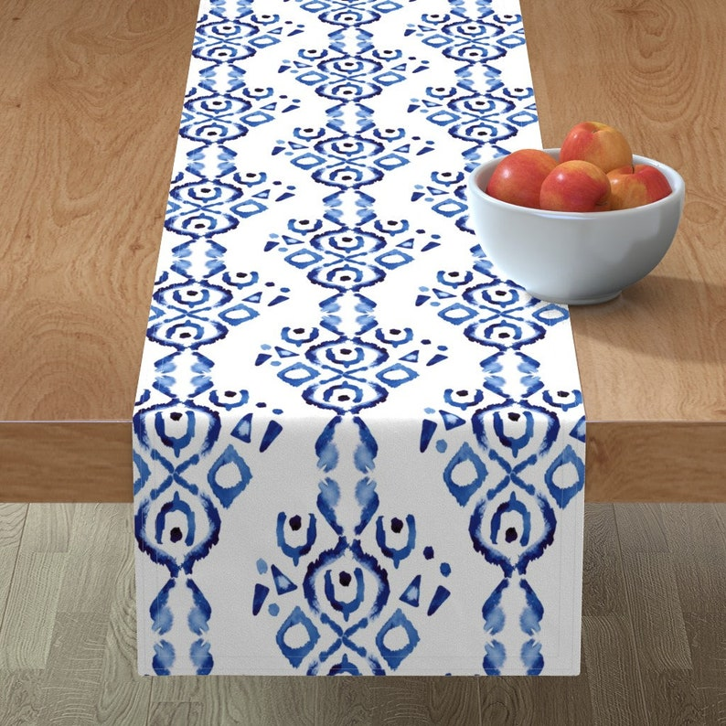 Bohemian Ikat Blue White  by misschiffdesigns Boho Table Runner Watercolor  Indigo And White  Cotton Sateen Table Runner by Spoonflower