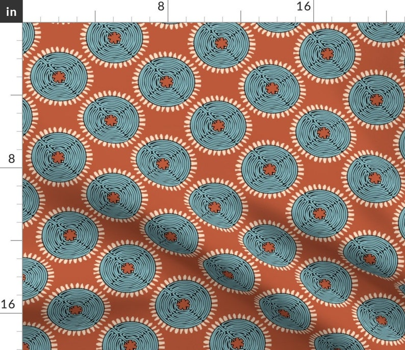 Medalions  Brown Blue Cotton Sateen Table Runner by Spoonflower African Labyrinth Brown /& Blue by leventetladiscorde Tribal Table Runner