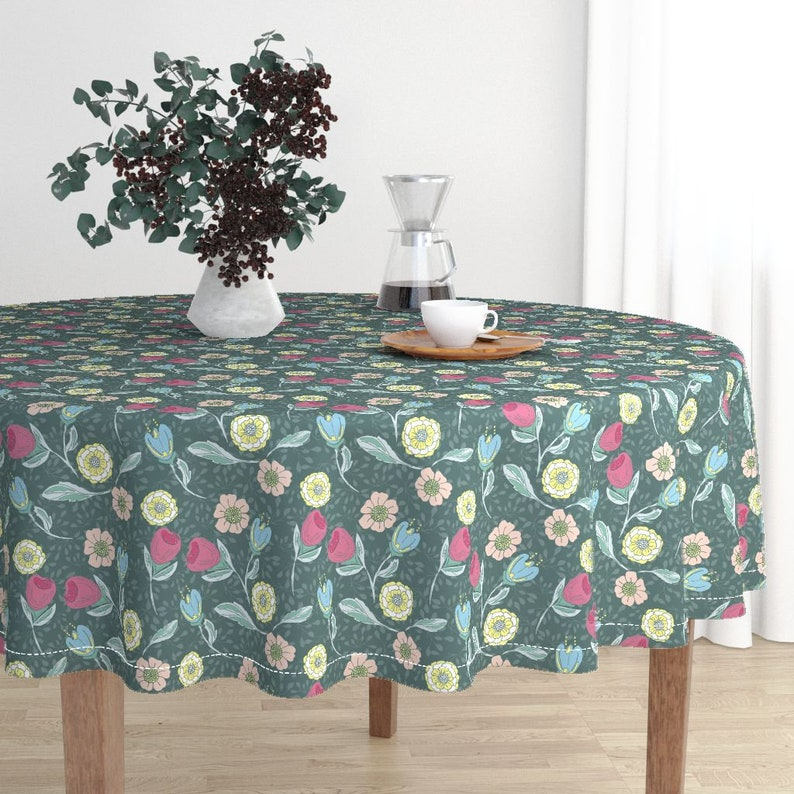 Flowers Round Tablecloth Spring Garden In Forest Green by jac/_slade Woodlands Cotton Sateen Circle Tablecloth by Spoonflower