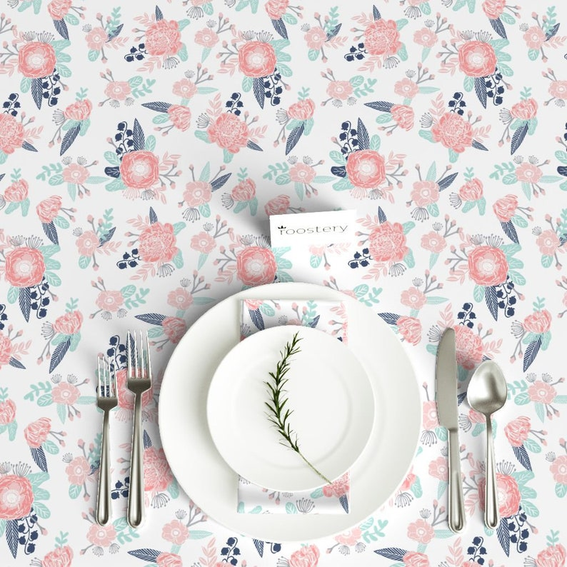 Bohemian Cotton Sateen Tablecloth by Spoonflower Pink Floral Tablecloth Florals Flower by
