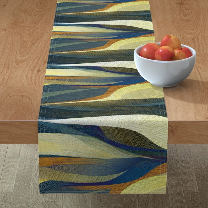 Painterly  Blue Tan Brown Modernist Mod  Cotton Sateen Table Runner by Spoonflower Abstract Table Runner Textured Waves by wren/_leyland