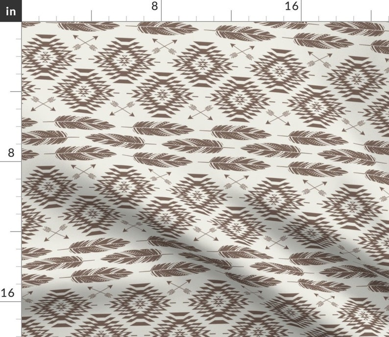 Native Roots Cream Brown by bohemiangypsyjane Navajo  Feathers Arrows Brown Cotton Sateen Sheet Set Bedding by Spoonflower Boho Sheets