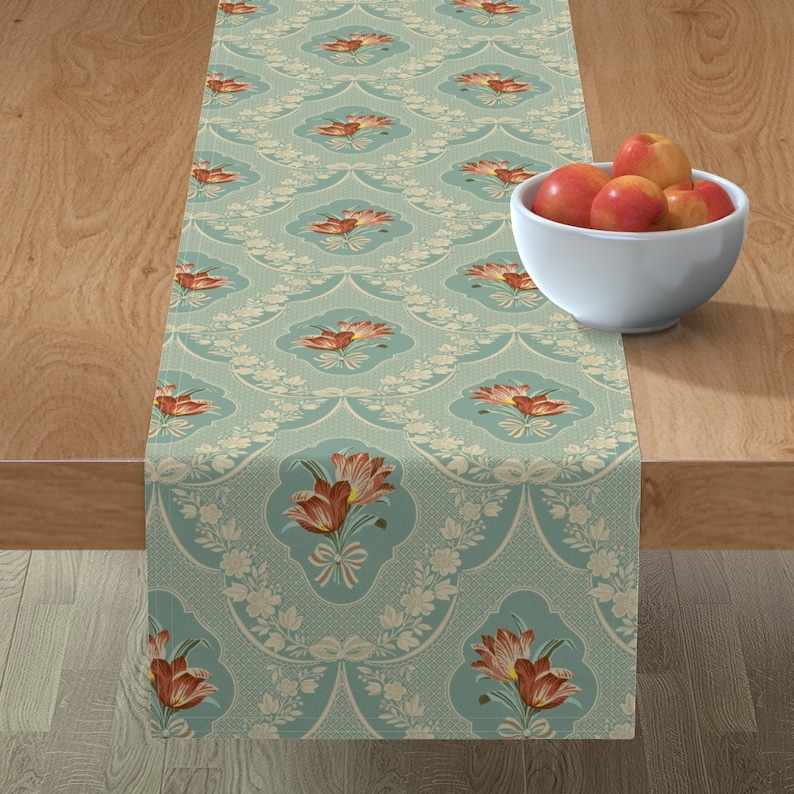 Table Linens Home Living Tulip Damask By Muhlenkott Baroque Rococo Table Runner Victorian Damask Floral Art Deco Cotton Sateen Table Runner By Spoonflower