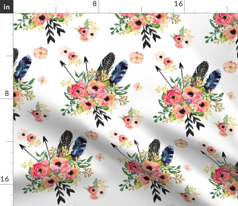 Set of 2 White by shopcabin - Boho Floral Dreams With Arrows Floral  Roses Boho Cloth Napkins by Spoonflower Flowers Dinner Napkins