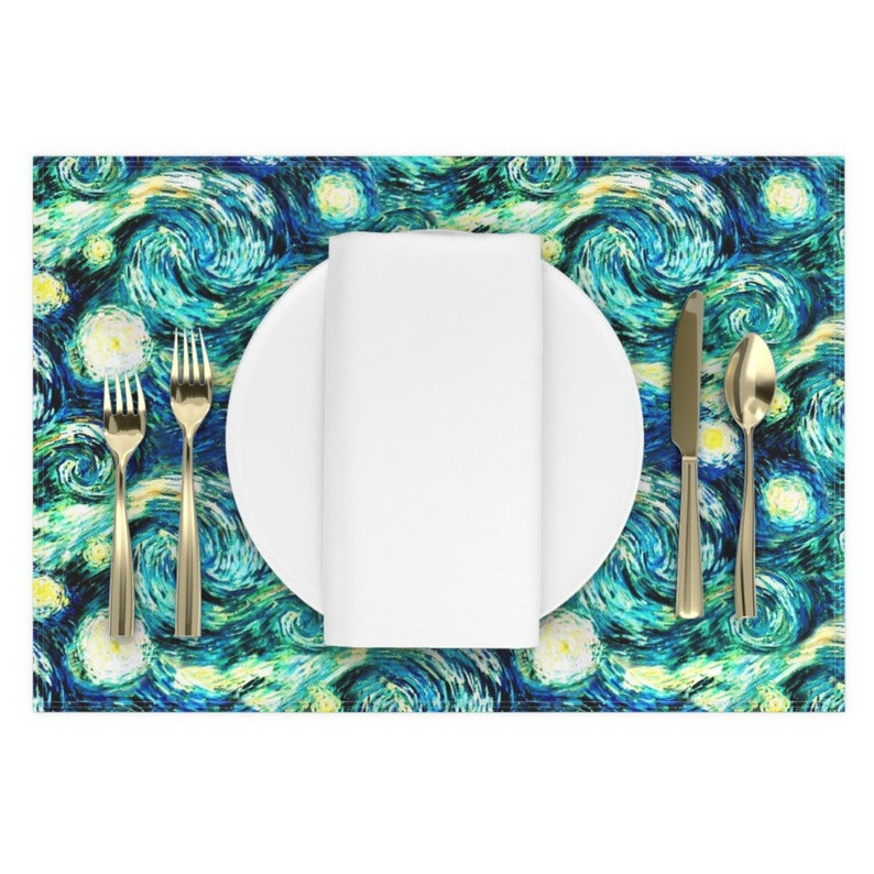 - Starry Night Sky by bohobear Starry Night Placemats Celestial  Night Time Van Gogh Teal Swirl Cloth Placemats by Spoonflower Set of 2