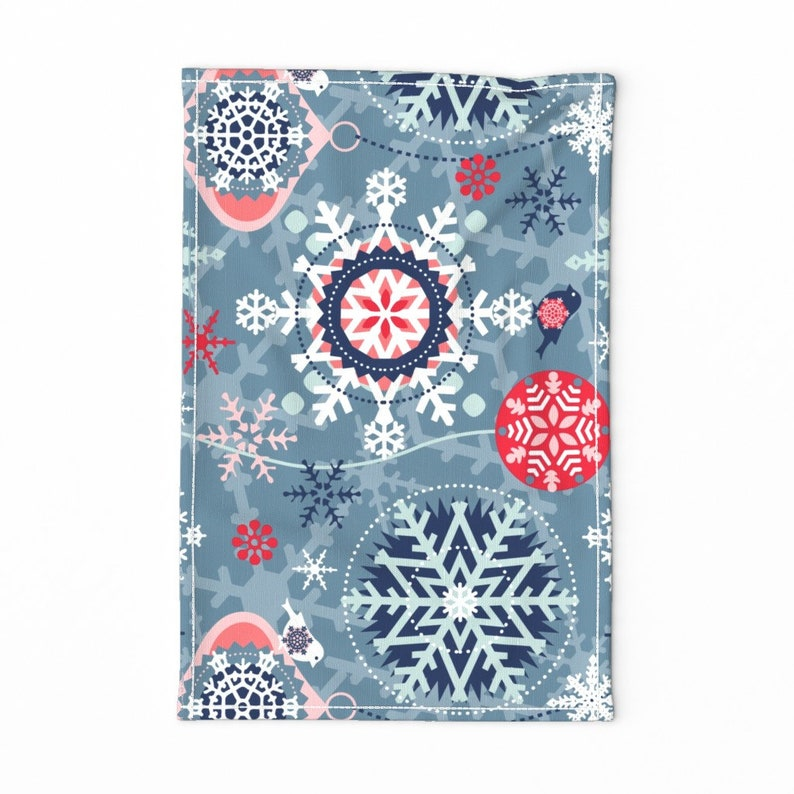 Snowflakes In The Garden by chicca/_besso Christmas Tea Towel Graphic Snowflakes  Winter Red Linen Cotton Canvas Tea Towel by Spoonflower