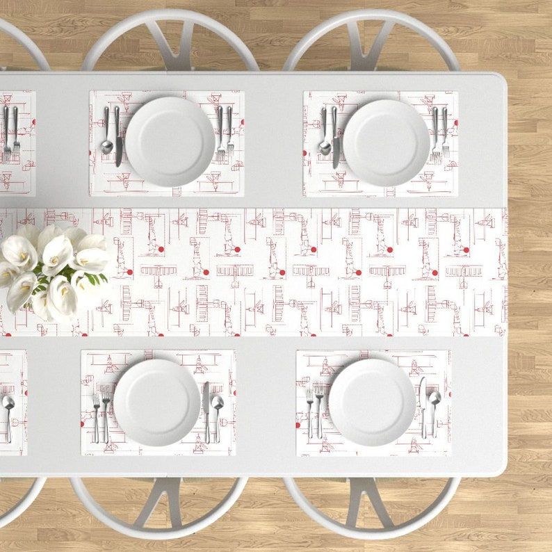 Red Planes Cotton Sateen Table Runner by Roostery with Spoonflower Airplane Table Runner red flight school blueprints by holli/_zollinger