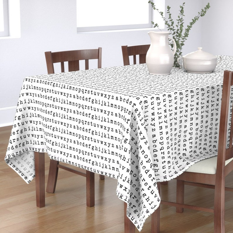 Letters Tablecloth Black And White  Abcs Typography Cotton Sateen Tablecloth by Spoonflower Typewriter Alphabet  by thinlinetextiles
