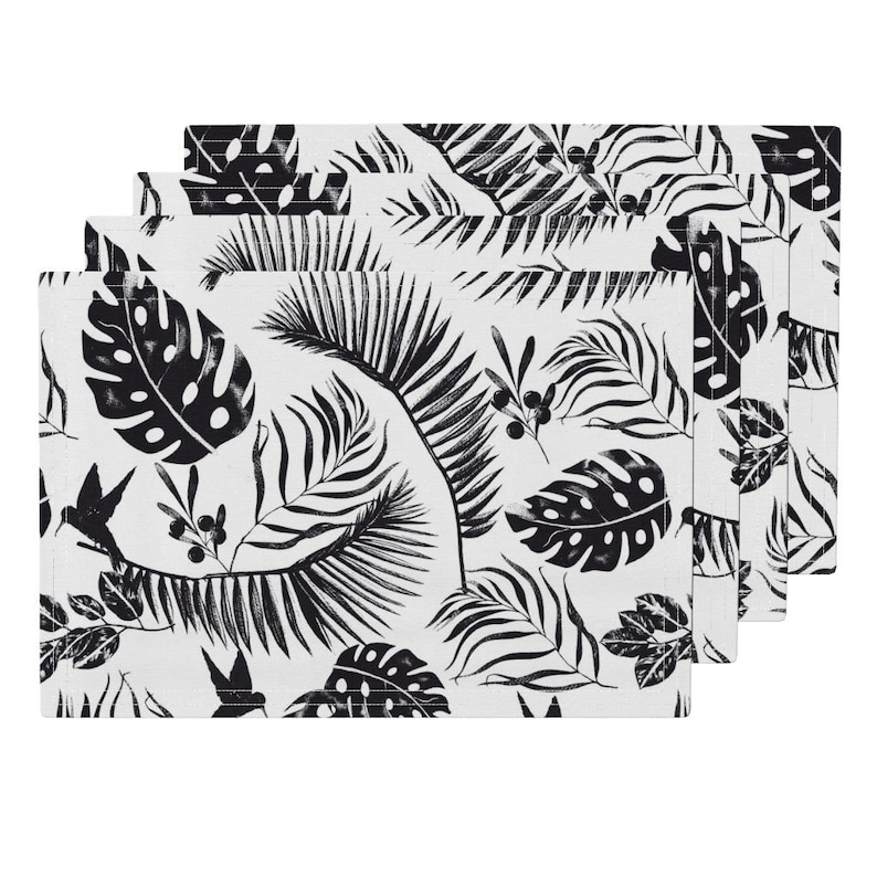 Set of 4 Hummingbirds Cloth Placemats by Spoonflower - Black And White Tropical Leaf by andrea/_haase/_design Jungle Placemats
