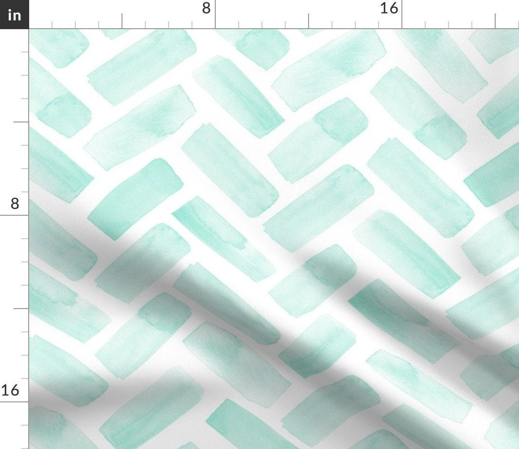 Teal Throw Blanket - (jumbo Scale) Watercolor Herringbone - Aqua by littlearrowdesign - Modern Aqua Throw Blanket with Spoonflower Fabric