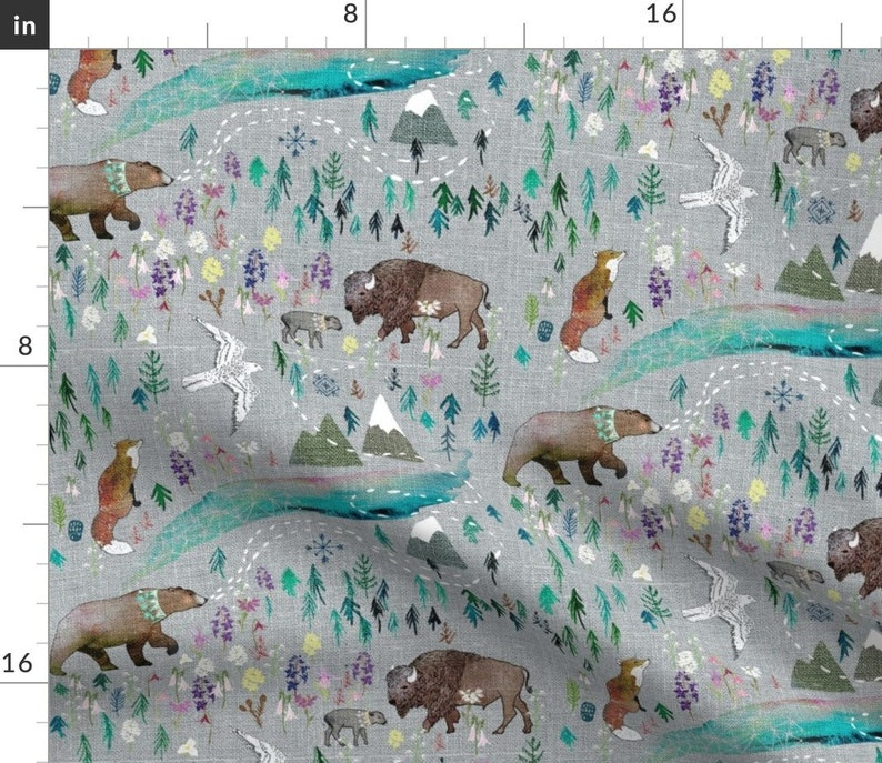 Rustic Forest  Bison Fox  Cloth Napkins by Spoonflower - Summer Aurora  by nouveau/_bohemian Woodland Whimsical Dinner Napkins Set of 2