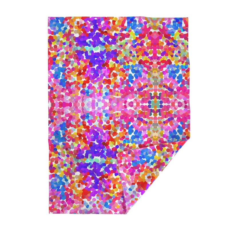 Pointillism In Magenta Violet And Orange by theartwerks Hot Pink  Polka Dot Throw Blanket with Spoonflower Fabric Dots Throw Blanket