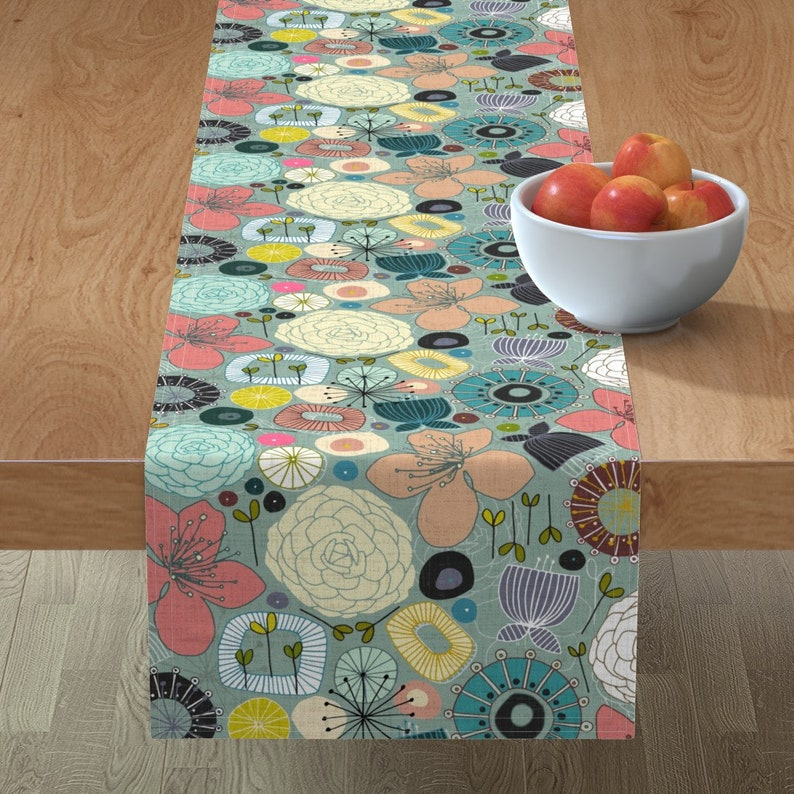 Oriental Blooms by scrummy Floral  Japanese Garden Botanical Cotton Sateen Table Runner by Spoonflower Mid Century Modern Table Runner
