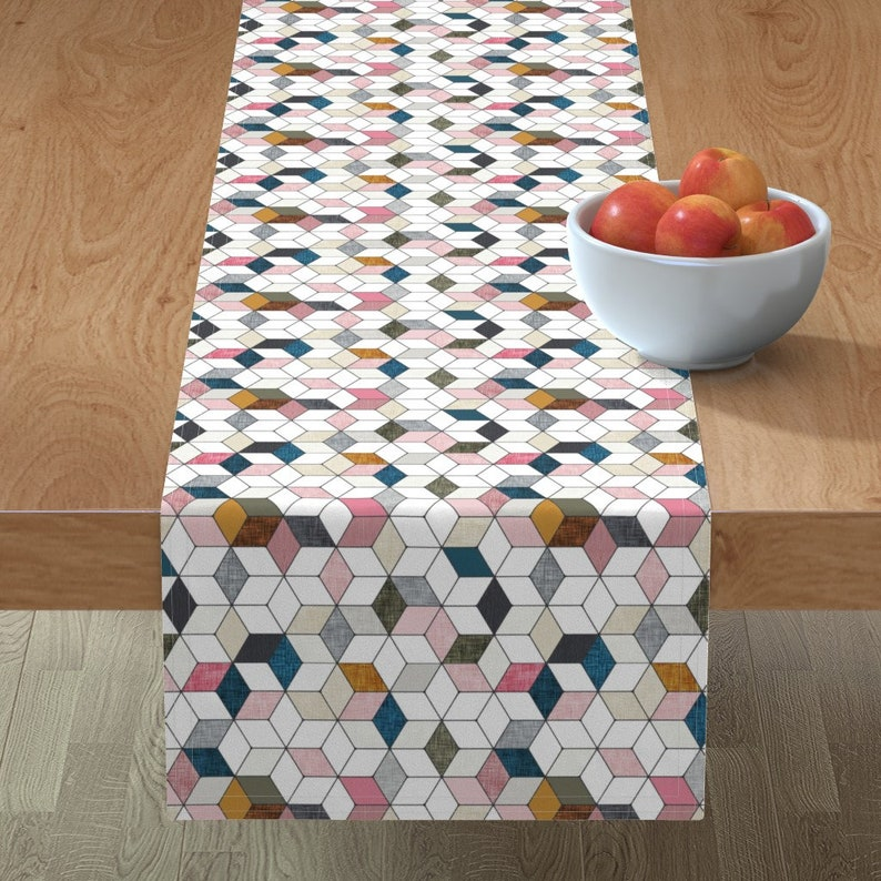 Hexo pink Tessellation  Cubic Boho Squares Modern Cotton Sateen Table Runner by Spoonflower by nouveau/_bohemian Geometric Table Runner