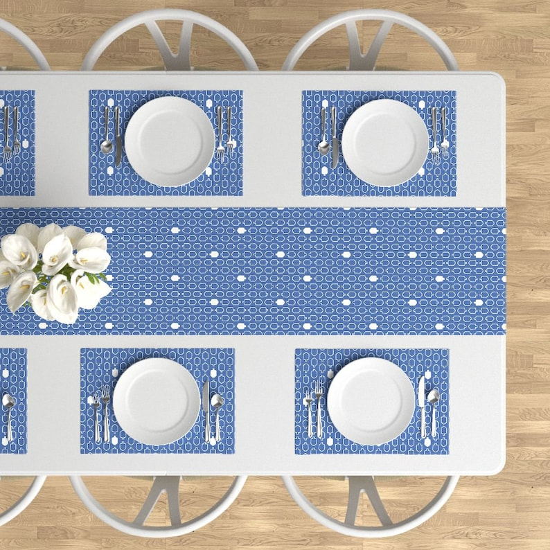 - Mod Dreidels Blue And White by beccamade Driedel Placemats Hanukkah Cloth Placemats by Spoonflower Set of 4