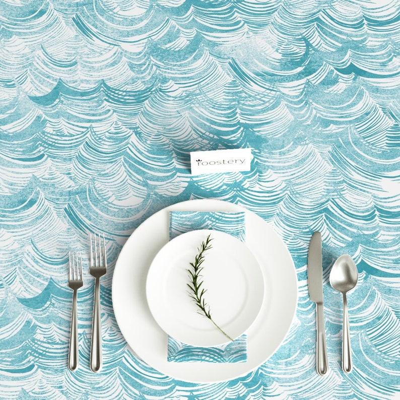 Wild Ocean aqua by nouveau/_bohemian Nautical Tablecloth Waves Cotton Sateen Tablecloth by Spoonflower