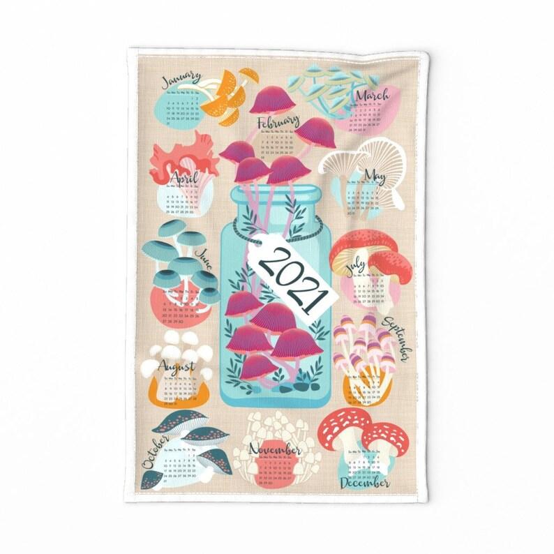 Mushrooms Tea Towel  2021 Fun Fungi Calendar by cjldesigns  image 0