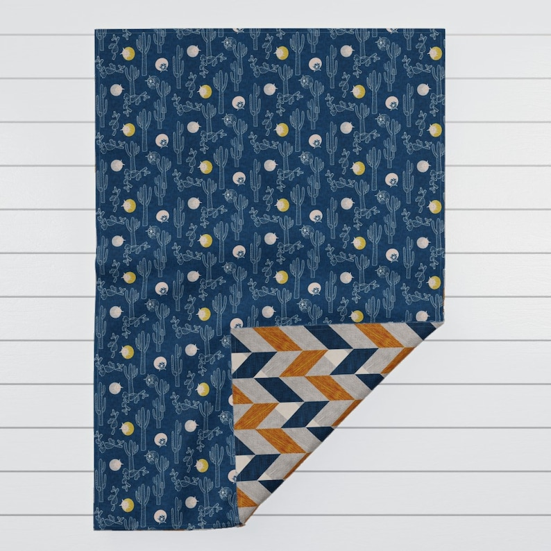 Parquetry and Indigo Cactus by nouveau/_bohemian Cozy Throw Blanket Southwestern Bohemian Blanket Home Decor with Spoonflower Fabric