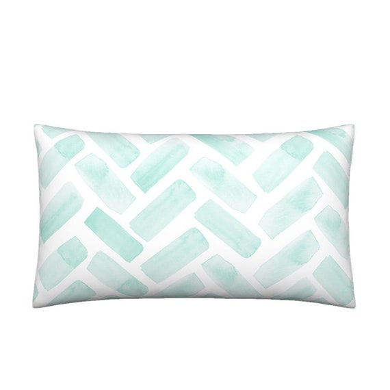 a626b2b19df Lumbar Throw Pillow Watercolor Herringbone Aqua by
