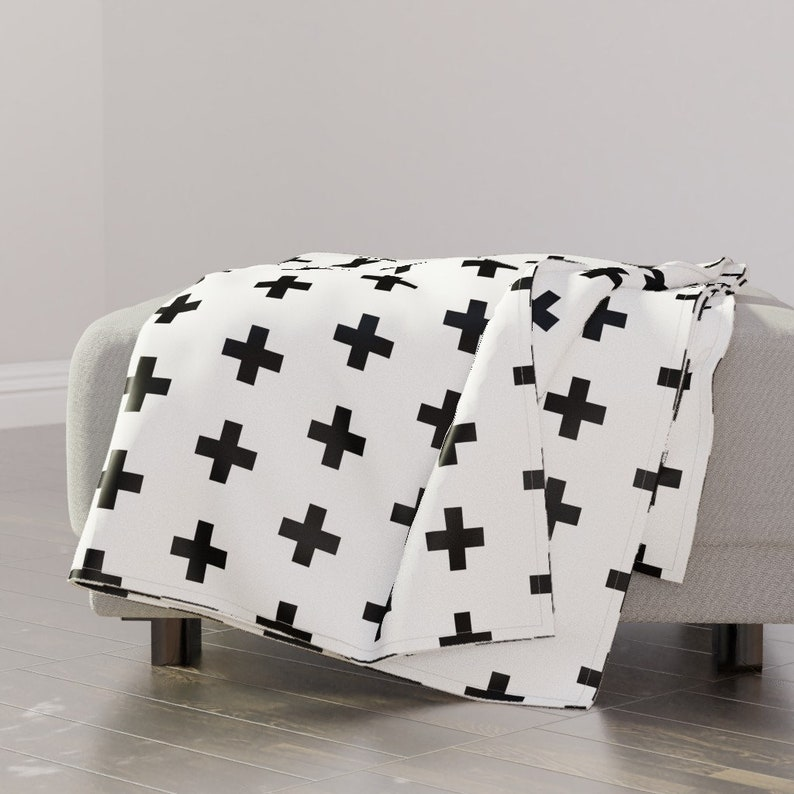 Black Crosses On White by modfox Plus Sign Throw Blanket Geometric Modern Black Hipster Throw Blanket with Spoonflower Fabric