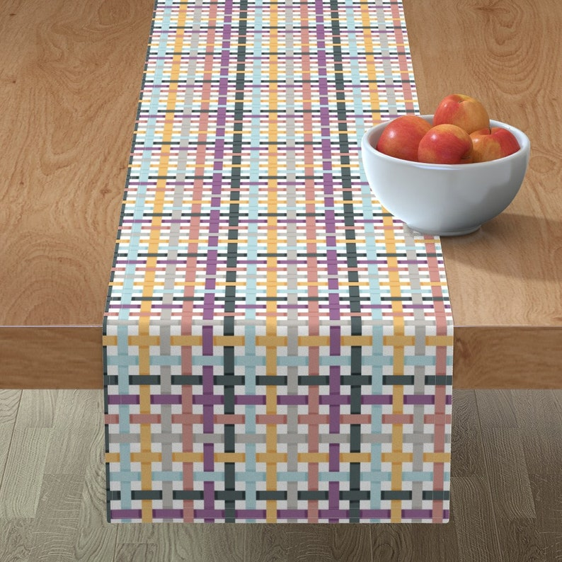 Spring Table Runner Woven Ribbons Multicolor by eclectic/_house Easter Plaid  Pastel Check  Cotton Sateen Table Runner by Spoonflower