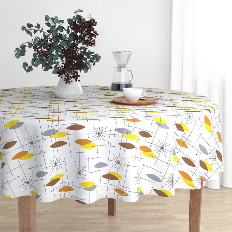 Round Tablecloth Atomic Modern Brown Yellow Black Geometric Cotton Sateen Round Tablecloth by Spoonflower Orbs large by tonyanewton