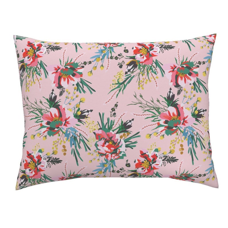 Pink Floral Cotton Sateen Pillow Sham Bedding by Spoonflower Poppy Wild Spring by holli/_zollinger Botanical Pillow Sham