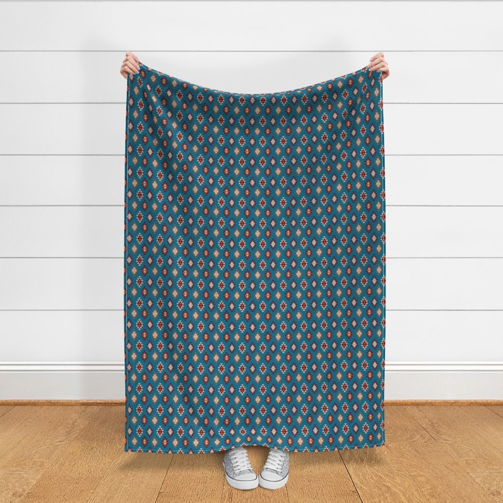 Aztec Throw Blanket - Kilim Blue Design par lorloves-design - Southwestern Boho Kilim Native Geo Throw Blanket with Spoonflower Fabric