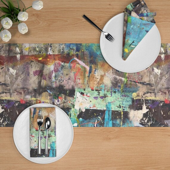 Table Runner Abstract Grunge Distressed Painting Ink Graffiti Cotton Sateen