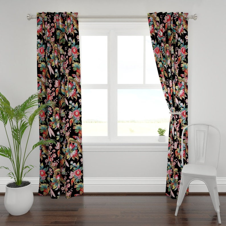 Parrot Curtain Panel Tropical Custom Curtain Panel by Spoonflower Edwardian Parrot Bright Black  by peacoquettedesigns