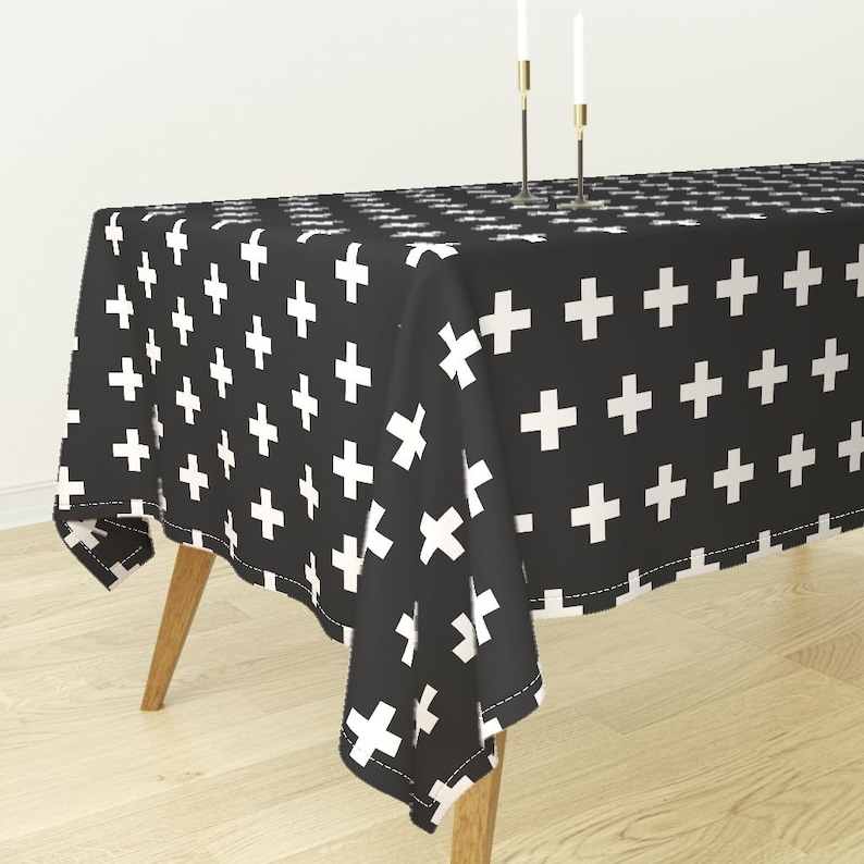 Modern Cross Geometric Cotton Sateen Tablecloth by Spoonflower Black Plus Signs by modfox White Crosses On Black Plus Sign Tablecloth