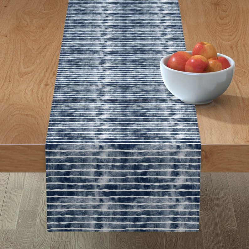 4th Of July  Cotton Sateen Table Runner by Spoonflower Blue Stripes Table Runner Distressed Navy Stripes by littlearrowdesign