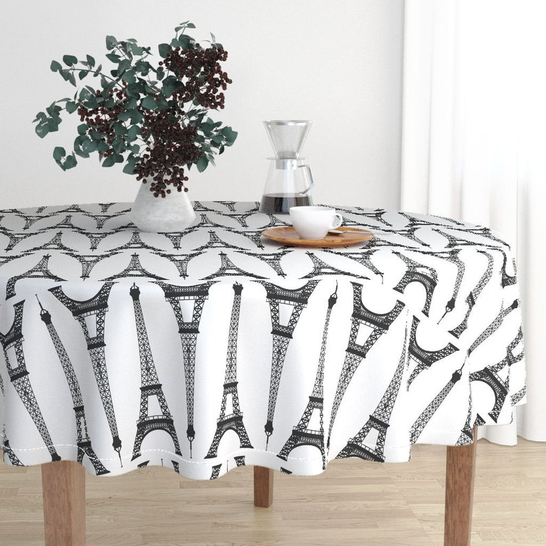 Black Eiffel Towers On White by mtothefifthpower France Travel Cotton Sateen Circle Tablecloth by Spoonflower Paris Round Tablecloth