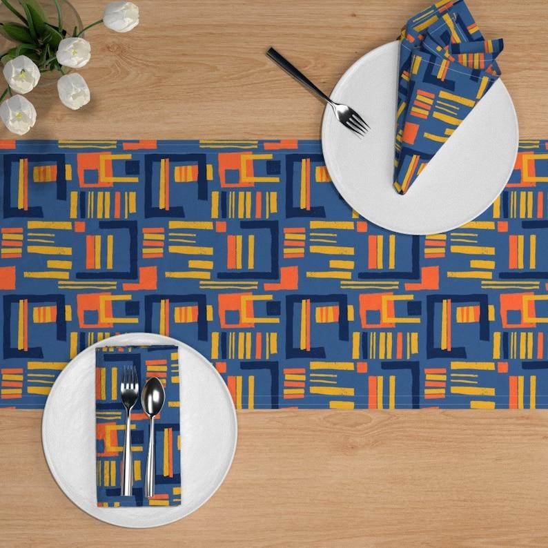 Abstract Table Runner Geometric  Modern Mid-century Cotton Sateen Table Runner by Spoonflower Fiesta Maze by elizabeth/_hale/_design