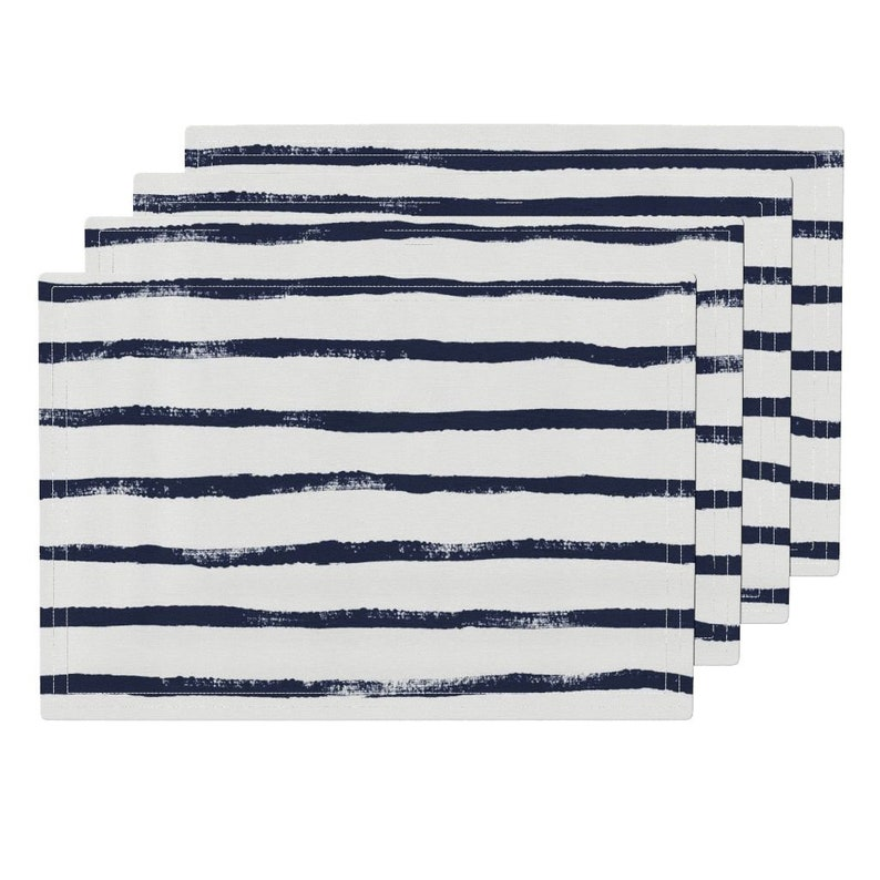 Watercolor Stripe Placemats Set of 4 Dark Indigo Stripe Cloth Placemats by Spoonflower - Thin Stripe Indigo by crystal/_walen