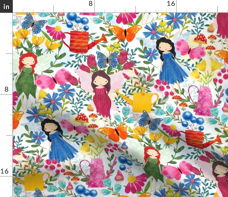 Fantasy  Fairy Garden 18x18 Square Throw Pillow by Spoonflower Fairies In My Garden by red/_raspberry/_design Flowers Throw Pillow
