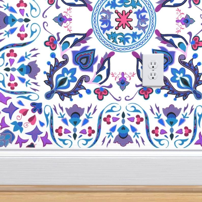 Boho Wallpaper Double Roll by Spoonflower Folk Art Tile Rosemaling by peacoquettedesigns Scandinavian Wallpaper