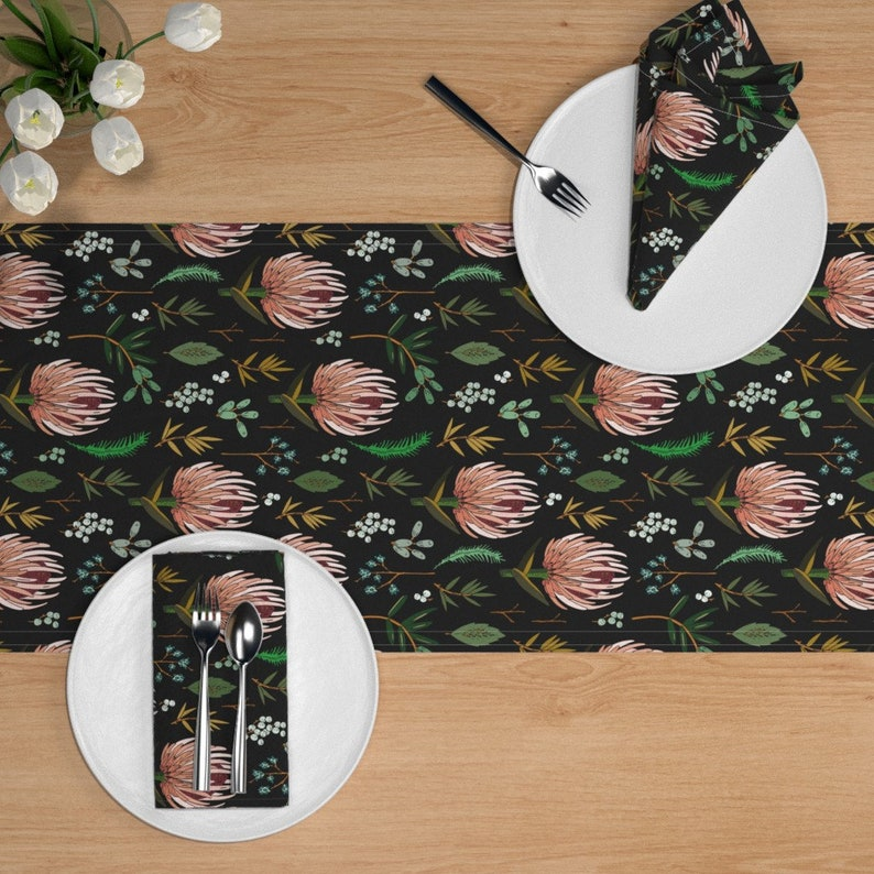 Floral  Botanical Botany A209 Cotton Sateen Table Runner by Spoonflower Flower Table Runner Floral/_study/_dark by holli/_zollinger