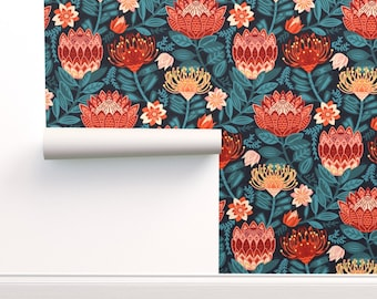 Pincushion Proteas Wallpaper - Protea Chintz by tigatiga - African Flowers  Red And Teal Fynbos African Wallpaper Double Roll by Spoonflower