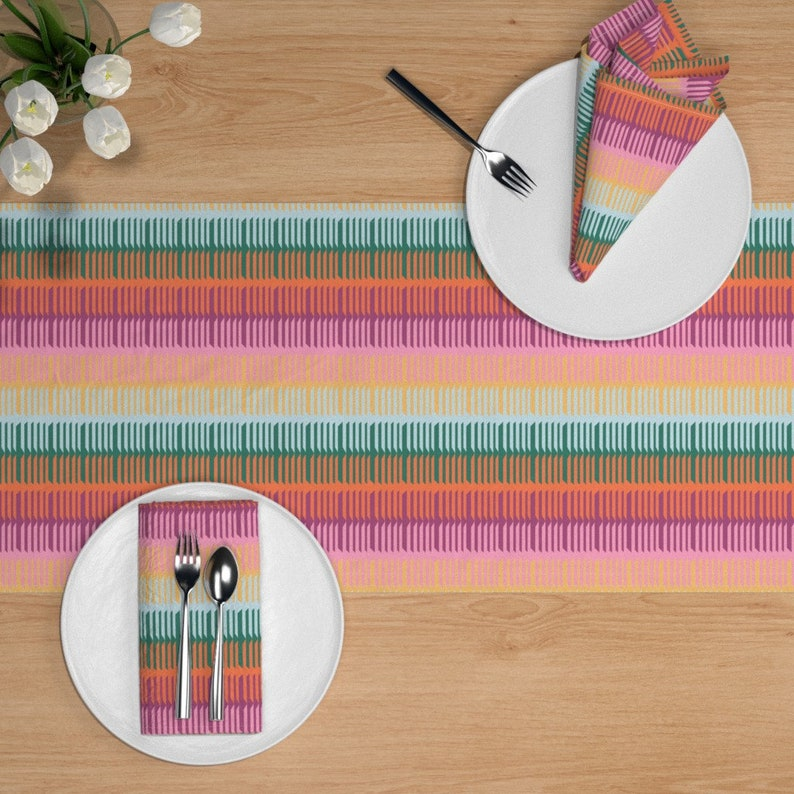 Persian Table Runner Ethnic  Tribal Abstract Boho Cotton Sateen Table Runner by Spoonflower Kilim In Warm Multi by elliottdesignfactory