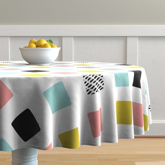 Mod Dots Modern Circles Round Yellow Cotton Dinner Napkins by Roostery Set of 2