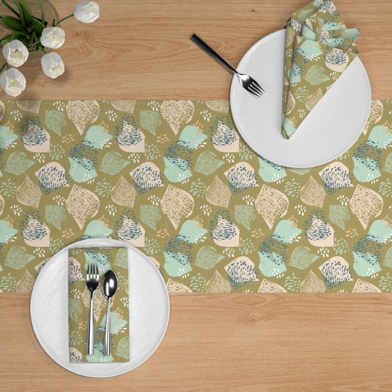 Olive Green Blush  Painterly Brush Strokes Cotton Sateen Table Runner by Spoonflower Flock by sue/_halstead/_ Modern Abstract Table Runner