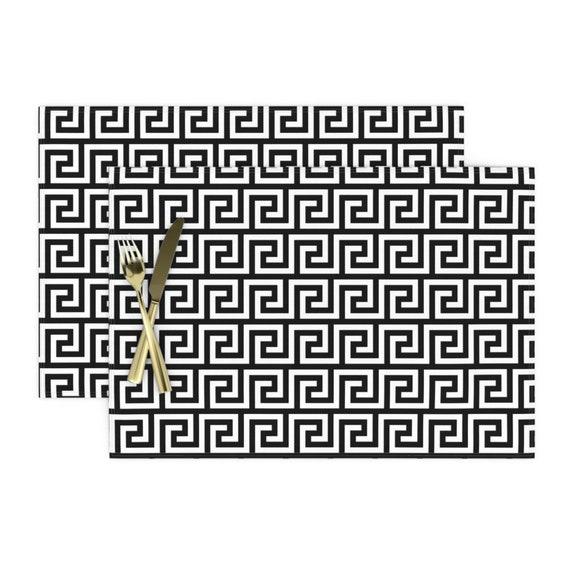 Geometric  Black And White Home Decor Cloth Napkins by Spoonflower Labyrinth Cocktail Napkins -  Greek Key Pattern  by mkokolo Set of 4